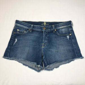 7 For All Mankind Distressed Cut Off Jean Shorts